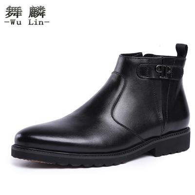 冬季新款头层牛皮男靴 英伦尖头商务高帮鞋 潮流马丁靴短靴军靴