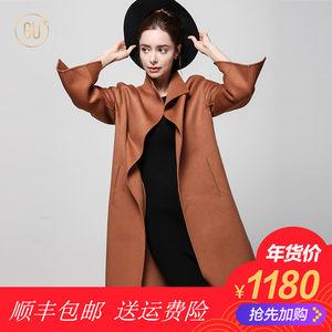GU+毛呢外套女长袖长款大衣2017秋冬新款纯色直筒羊毛大衣