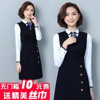 职业装套装两件套衬衫连衣裙女套裙2018新款时尚OL空姐前台工作服
