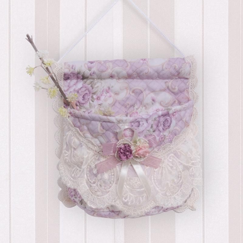 挂袋收纳袋墙挂式门后多功能单兜单层挂袋布艺蕾丝储物袋