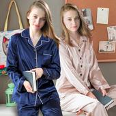 性感仿真丝绸大码 家居服套装 性感薄款 南极人睡衣女冰丝长袖 短袖图片