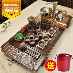 美阁全自动四合一茶具套装家用实木茶盘整套功夫紫砂陶瓷茶杯茶台