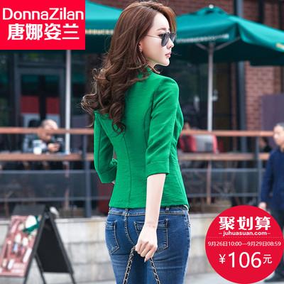 2018春秋韩版女士修身显瘦棉麻气质休闲白色小西装外套女短款西服