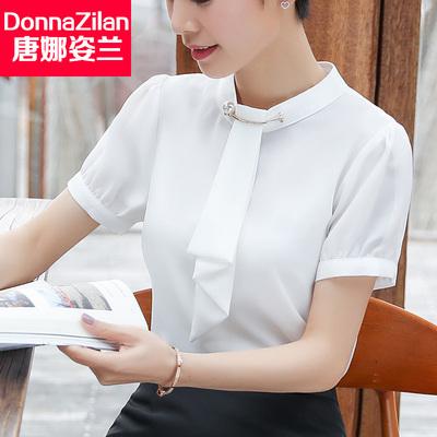 雪纺白衬衫女2018夏季新款韩版女士短袖宽松港味复古职业衬衣上衣