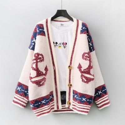 2018秋装新款韩版毛衣外套女中长款宽松口袋绣花学生开衫针织上衣