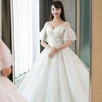 婚纱礼服2018新款拖尾公主梦幻新娘森系女 孕妇一字肩v领大码显瘦