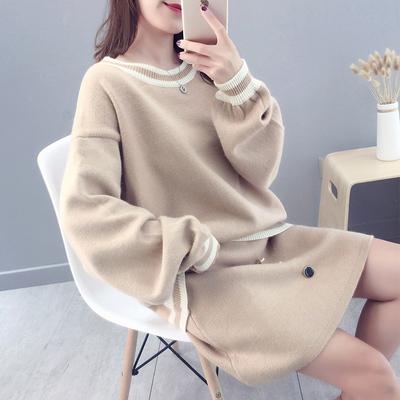 毛衣套装女秋装韩版加厚宽松时尚毛线半身裙两件套秋冬季2018新款