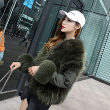 Imported fox fur jacket with both sides wearing mink fur coat overcoming female short flying suit jacket