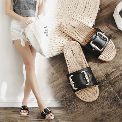 平底拖鞋女夏时尚外穿2018新款韩版室外出金属皮带扣平跟一字凉拖