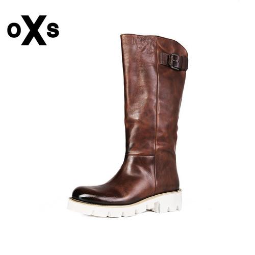 OXS意大利进口春季复古擦色牛皮革长筒女靴欧美百搭