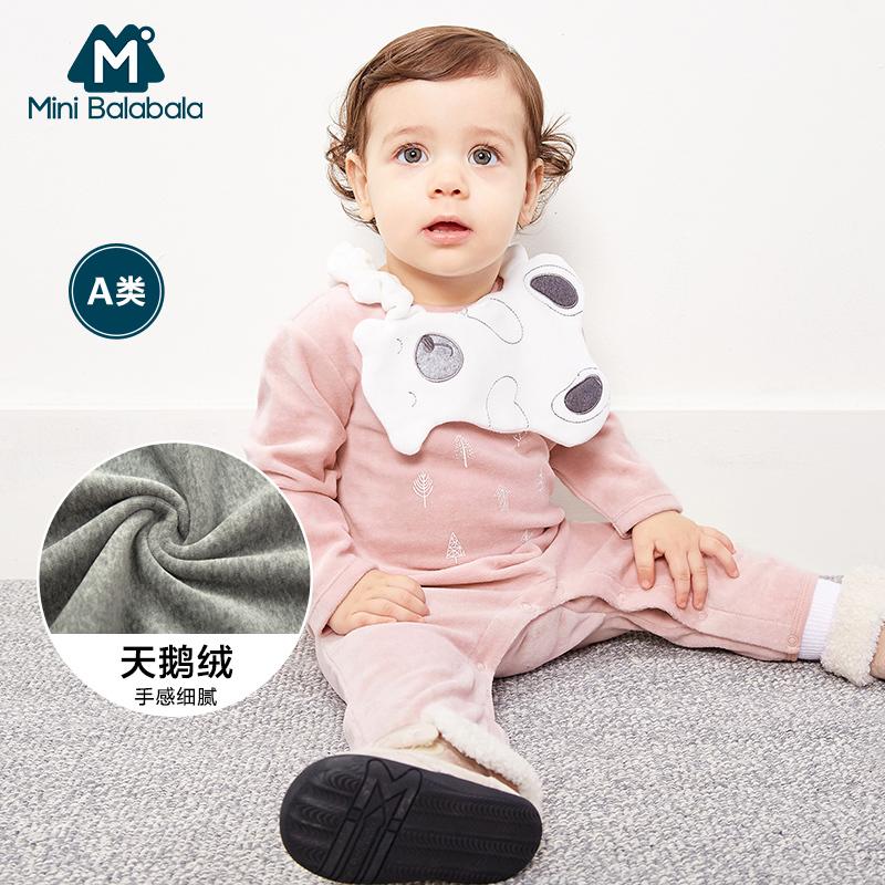 印花天鹅绒爬服男女宝宝婴儿连体衣