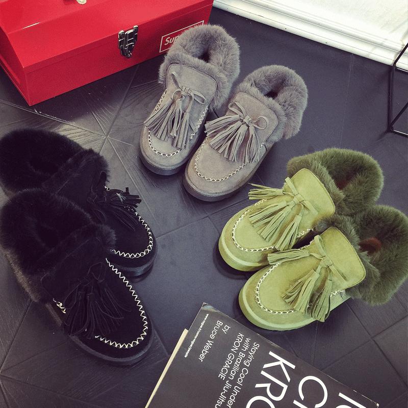 冬季雪地靴女韩版百搭学生短筒女靴保暖加绒加厚短靴平底磨纱靴子