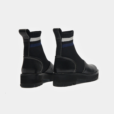 短靴女春秋2018真皮新款圆头马丁靴英伦单靴中低跟短筒袜子女裸靴