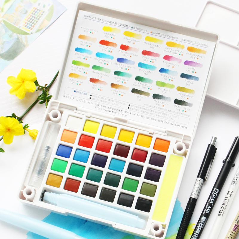 日本樱花水彩颜料36色固体水彩套装24色樱花36色透明水彩18色包邮