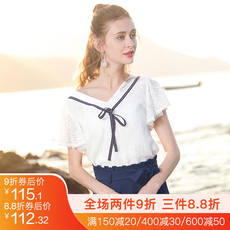 Lace shirt female 2019 new short-sleeved female Xia elegant chiffon shirt super fairy white shirt fairy foreign shirt