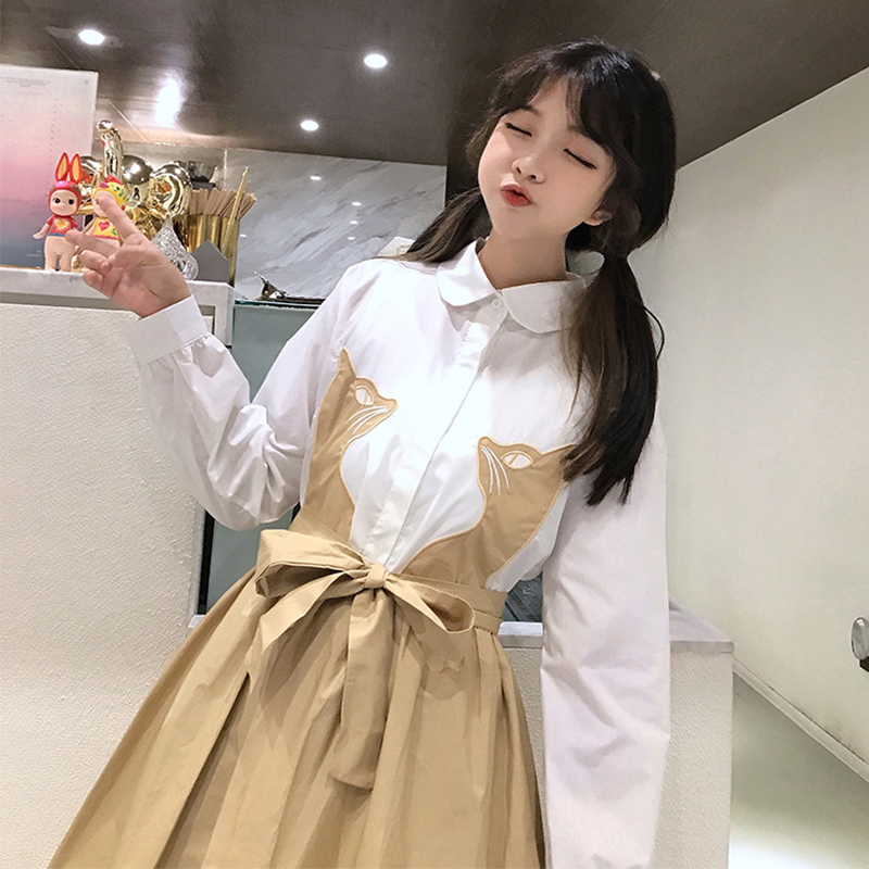 2018 spring women's Korean students girls loose small fresh cute embroidery cat