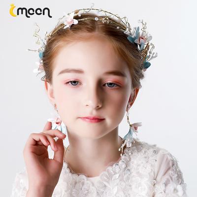 新款流苏蓝色花朵儿童公主发饰头饰韩国 发夹 简约女可爱优雅甜美