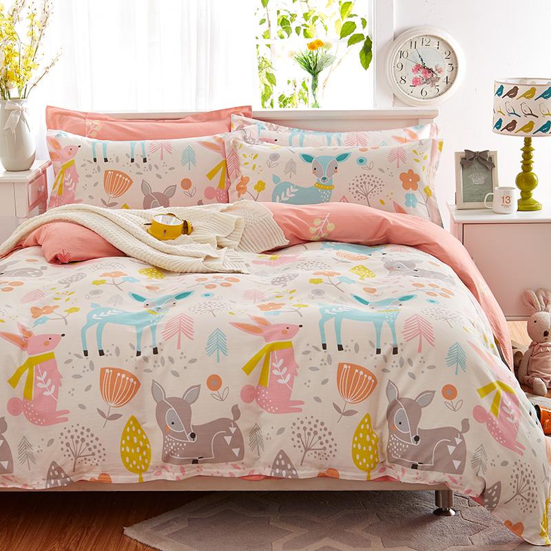 四件套全棉纯棉床单被套被子学生宿舍三件套单人床网红款床上用品