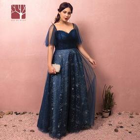 雪蜜鸟预售胖mm礼服女 大码200斤 蓝色长款主持年会礼服 袖子可拆