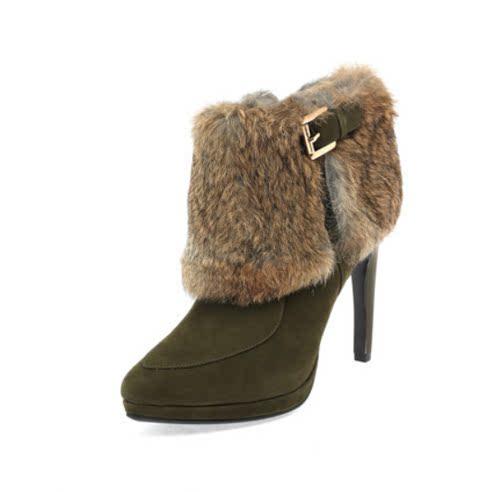达芙妮旗下女鞋冬靴羊反绒皮兔毛女靴筒侧拉链短靴英伦风短靴高跟