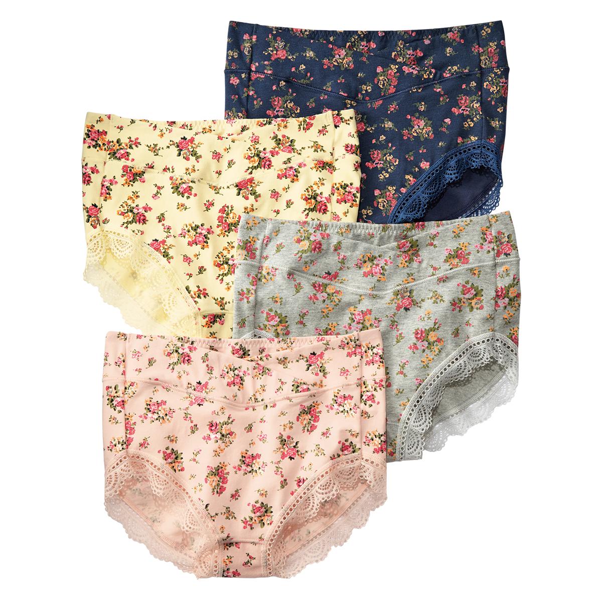 日本NISSEN代购正品 95%棉高腰反折舒适小花内裤4条组