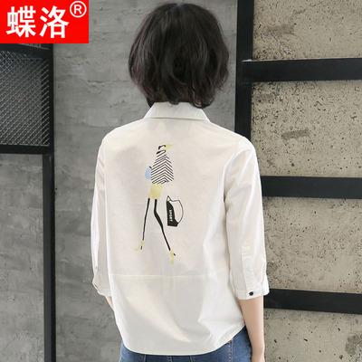 女式韩版短袖短款衬衫