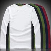 春秋季纯色长袖t恤男士特价9.9元包邮秋衣V领打底衫简约圆领小衫