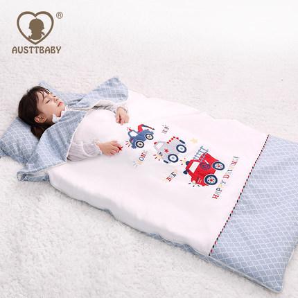 AUSTTBABY婴儿睡袋儿童防踢被秋冬季加厚宝宝棉花中大童被子