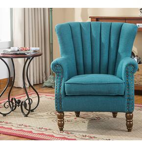 欧式布艺沙发椅客厅卧室单人铆钉老虎椅书房会所酒店休闲小户型