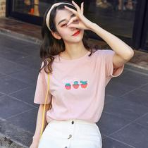 【2件59】2019夏季新款纯棉T恤女短袖宽松圆领学生韩版打底衫上衣