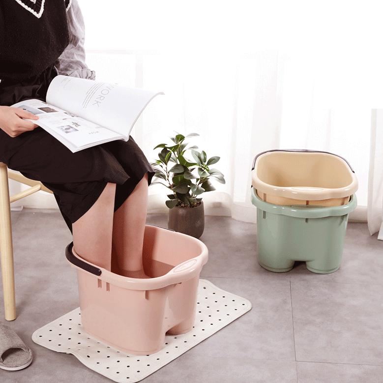 家用塑料洗脚盆按摩滚轮足浴桶加高洗脚日式足浴盆大号泡脚盆浴足