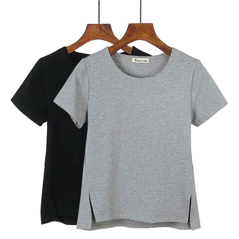 2019夏季新款韩版圆领短袖前短后长纯棉中袖T恤女宽松短款打底衫