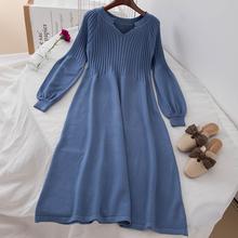 针织毛衣过膝长裙女连衣裙显瘦娃娃裙chic 1501秋冬V领复古灯笼袖