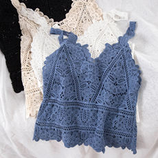 AG13# bottoming short small sling seaside holiday openwork lace outer wear knit vest female