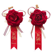 Creative wedding supplies Chinese brooch wine red festive wedding bride and groom simulation rose brooch props