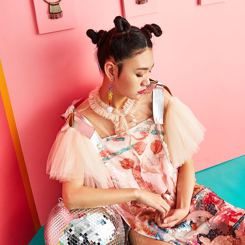 密扇百戏局2017夏季新款网纱薄款泡泡袖雪纺衫短袖上衣女