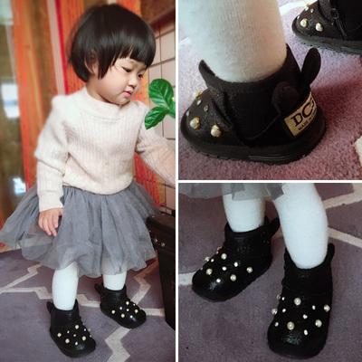女宝宝雪地靴0-1岁软底幼儿冬季棉鞋婴儿1-3岁防滑6-12个月学步鞋