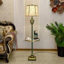 美式茶几落地灯卧室客厅书房沙发简约温馨创意灯遥控置物立式台灯