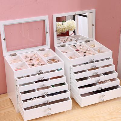 手饰品首饰收纳盒 公主欧式 韩国多层大容量首饰盒木结婚生日礼物