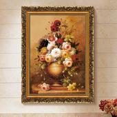 欧式有框古典画装 饰画客厅画餐厅玄关挂画家居壁挂画喷绘仿真油画