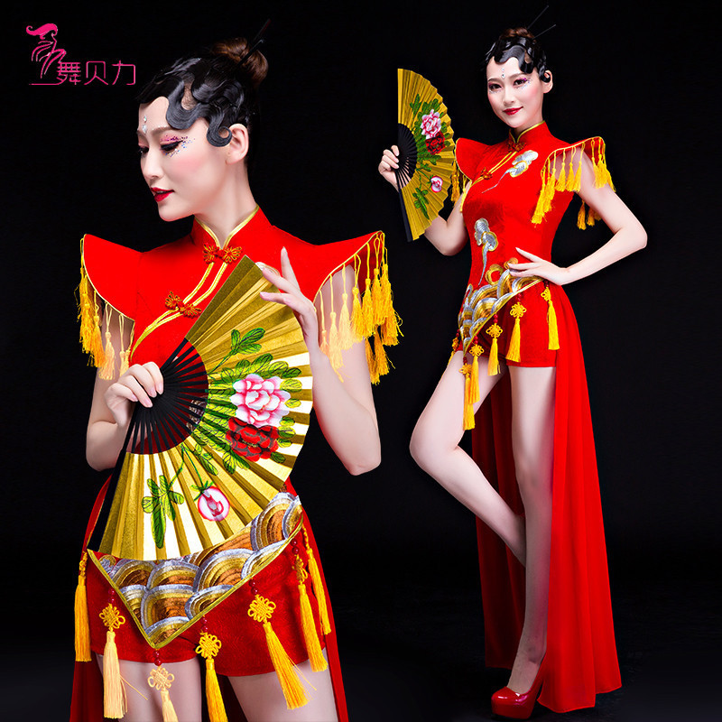 ethnic wind dance umbrella dance fan dance guzheng modern dance classical dance performance costume female cheongsam