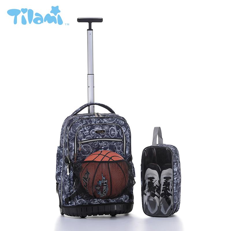 美国TILAMI中小学生拉杆书包旅行运动包19寸男女篮球包大容量包邮