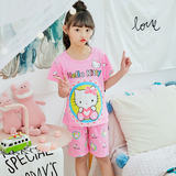 Parent-child wear children's pajamas summer cotton short-sleeved family three boys and girls home service big children mother and daughter suit