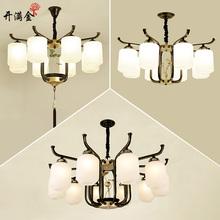 现代新中式吊灯简约客厅灯古典中国风复古餐厅卧室灯具玻璃铁艺灯