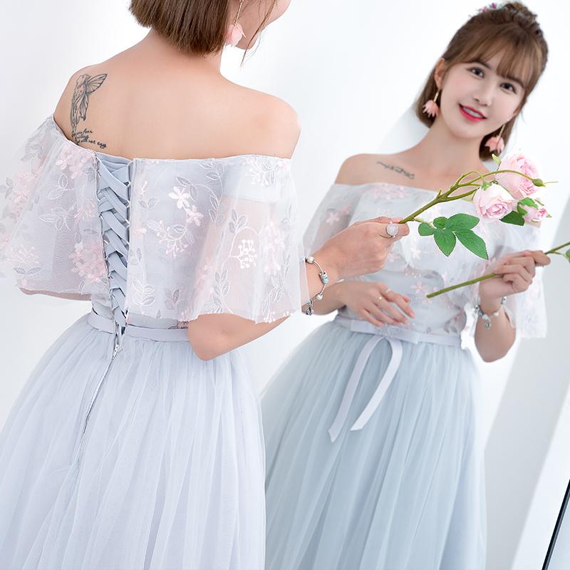 伴娘礼服女2018新款夏季韩版灰色伴娘晚礼服姐妹裙显瘦宴会中长款