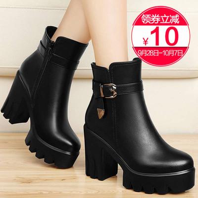短靴女鞋2018新款冬季女靴秋冬圆头靴子百搭厚底粗跟防水台高跟鞋