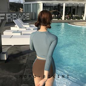 沫初见韩国撞色分体比基尼长袖高腰泳衣女遮肚显瘦保守防晒泡温泉