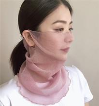 透气脖套小丝巾 面罩套头围脖女纯色防晒遮阳口罩薄款 夏季新品 韩版