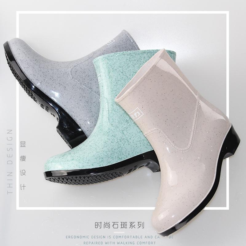 回力加绒雨鞋女成人短筒低帮胶鞋女士防水鞋厨房防滑时尚浅口套鞋