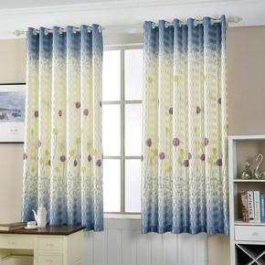 提花半紫色遮光浴室窗帘印花店面米色出租房轻薄布料简单米黄色